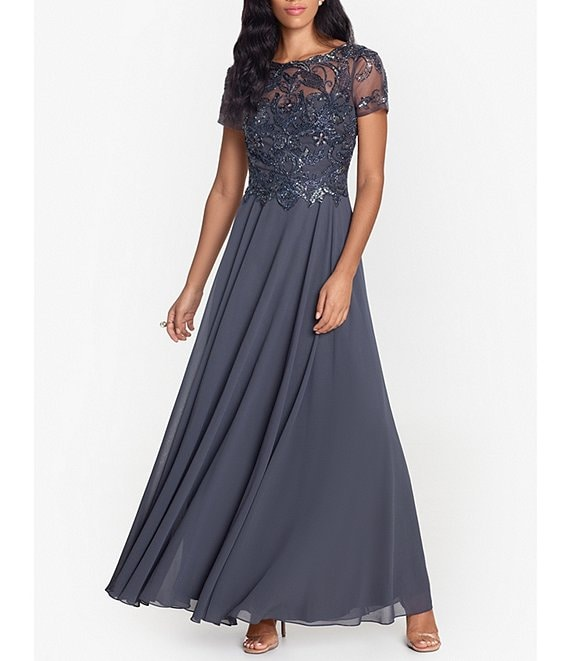 Color:Charcoal - Image 1 - Beaded Bodice Jewel Neck Chiffon Ballgown