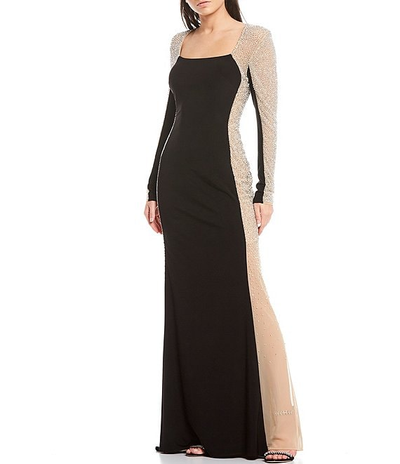 Color:Black/Nude/Silver - Image 1 - Caviar Beaded Mesh Panel Long Sleeve Contrast Matte Jersey Square Neck Mermaid Gown