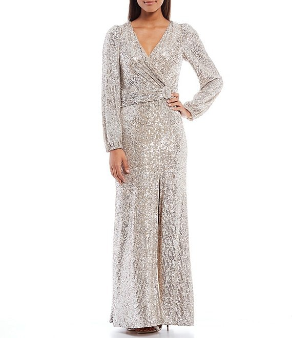 Color:Nude/Silver - Image 1 - Long Sleeve Allover Sequin Lace Front Slit Waist Ruch Detail Sheath Dress