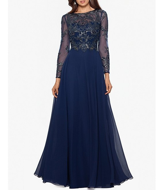 Color:Navy - Image 1 - Long Sleeve Beaded Bodice Chiffon Gown