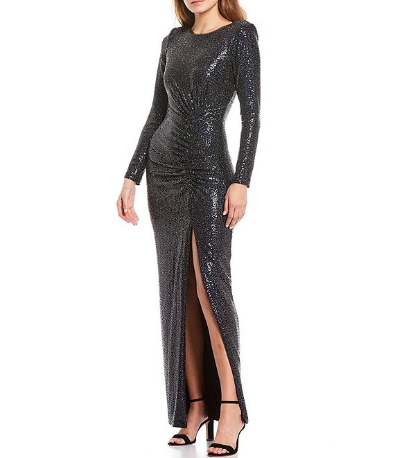 Color:Black/Navy - Image 1 - Long Sleeve Side Ruched Metallic Stretch Knit Column Gown