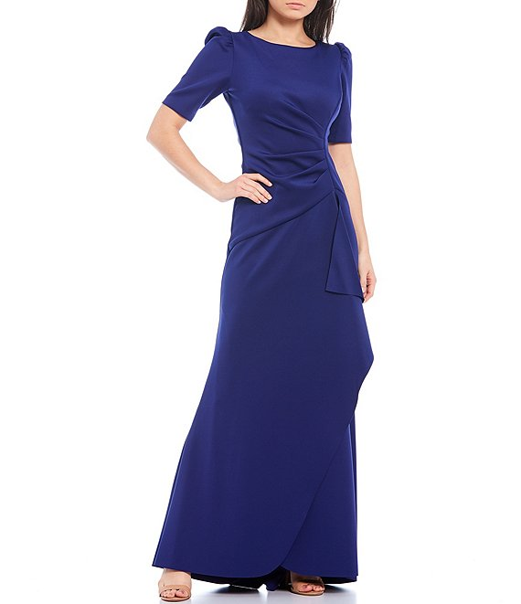 Color:Indigo Blue - Image 1 - Puff Sleeve Ruffle Front Tulip Hem Scuba Crepe Gown