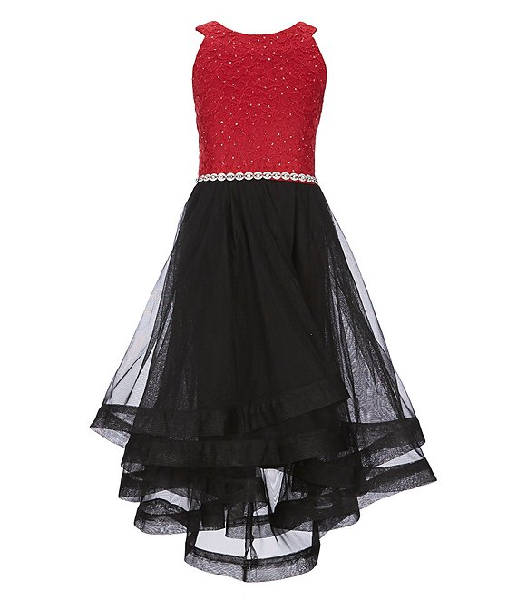Xtraordinary Big Girls 7-16 Glitter-Accented-Lace-Bodice Tulle-Skirted Fit-And Flare Dress