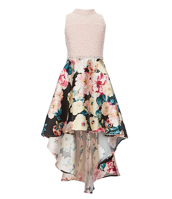 Color:Black/Rose - Image 1 - Big Girls 7-16 Glitter-Accented-Lace/Floral Mikado Fit-And-Flare Dress