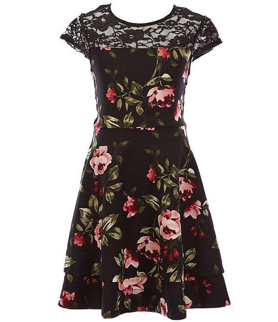 Color:Black/Rose - Image 1 - Big Girls 7-16 Illusion-Lace Floral Fit-And-Flare Dress
