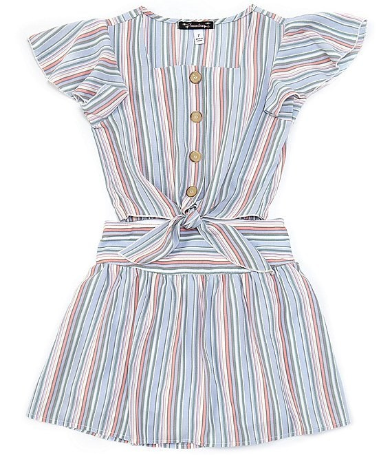 Color:Peri/Sage - Image 1 - Big Girls 7-16 Short-Sleeve Striped Button-Front Shirt & Skirt Matching Set