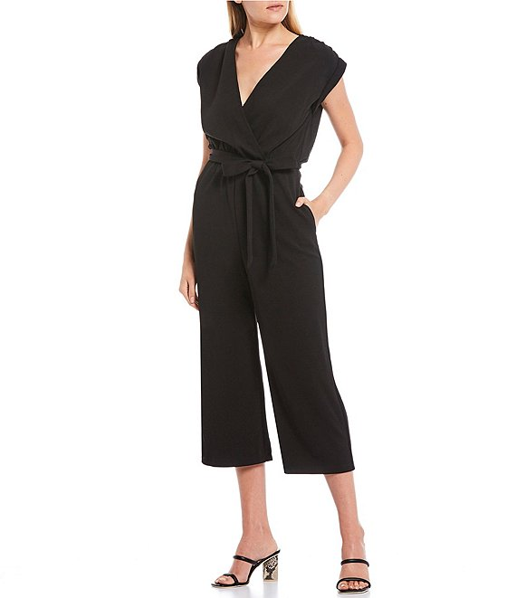 Color:Black - Image 1 - Cap Sleeve Surplice Neck Cropped Jumpsuit