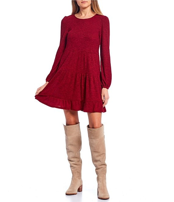 Color:Rhubarb - Image 1 - Long-Sleeve Tiered Knit Skirt Dress