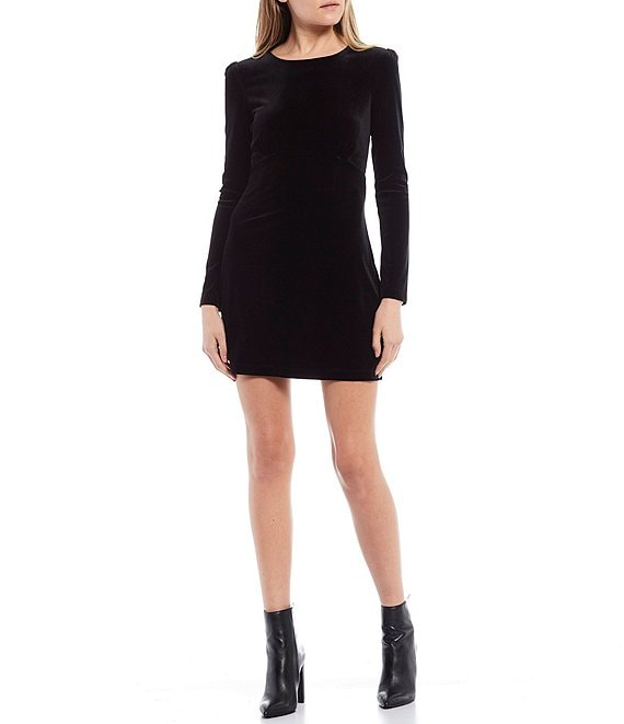 Color:Black - Image 1 - Long-Sleeve Velvet Sheath Dress