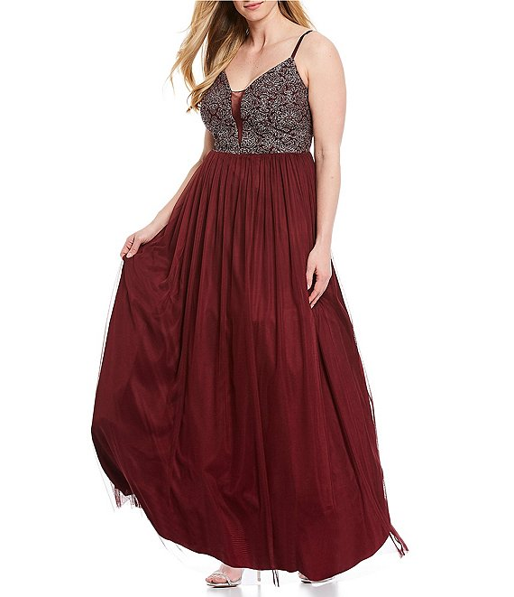 Color:Burgundy - Image 1 - Plus Spaghetti Strap Illusion Caviar Beaded Bodice Tulle Skirt Gown