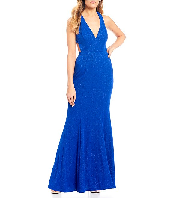 Color:Cobalt - Image 1 - Sleeveless Deep V-Neck Glitter Knit Long Dress