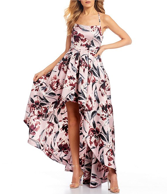 Color:Blush/Wine - Image 1 - Spaghetti Strap Square-Neck Floral Print Satin Long High-Low Dress