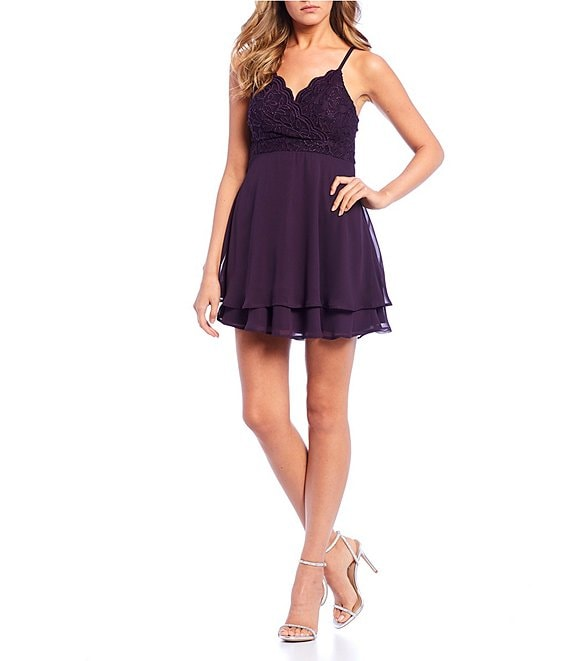 Color:Mulberry - Image 1 - Spaghetti Strap Double Hem Chiffon Dress