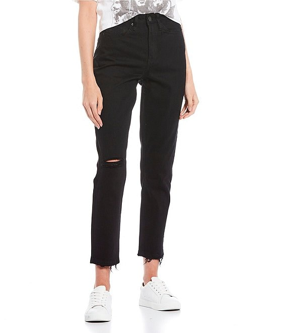 Color:Black - Image 1 - Dream High Rise Raw Hem Mom Jeans
