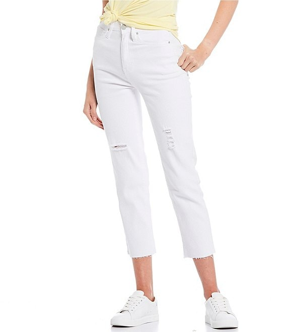 Color:White - Image 1 - High Rise Cropped Raw Hem Straight Jeans
