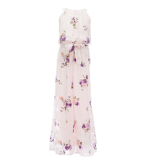 Color:Blush Floral - Image 1 - Big Girls 7-16 Sleeveless Burnout Floral Chiffon Jumpsuit
