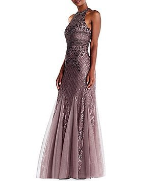 Adrianna Papell Sequin Beaded Halter Gown