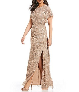 Adrianna Papell Plus Beaded Flutter Sleeve Gown