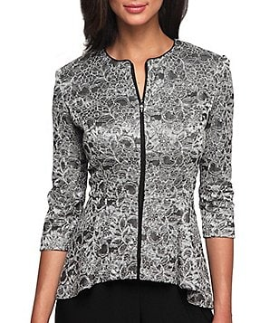 Alex Evenings Printed Lace Zip Front Jacket