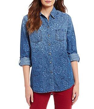 womens denim shirt: Women's Casual & Dressy Tops & Blouses ...