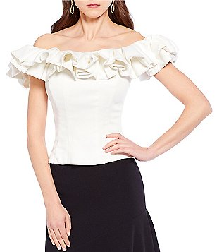Antonio Melani Gala Ruffle Off the Shoulder Blouse