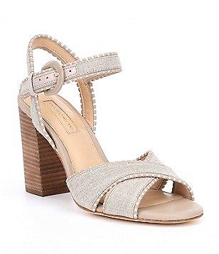 Antonio Melani Stacked Mirriah Whipstitch Ankle Strap Block Heel Dress Sandals tvgmf