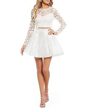 b darlin long sleeve glitter lace top twopiece dress