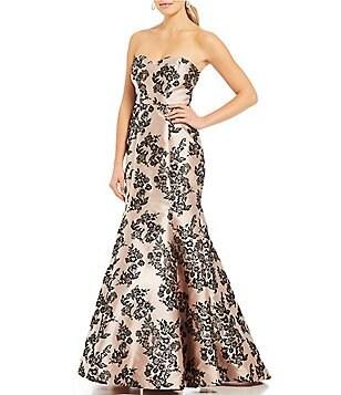 b darlin strapless floral print trumpet dress