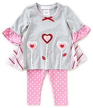 Bonnie Baby Baby Girls Newborn 24 Months Valentineu0027s Heart Dress U0026 Dotted  Leggings Set