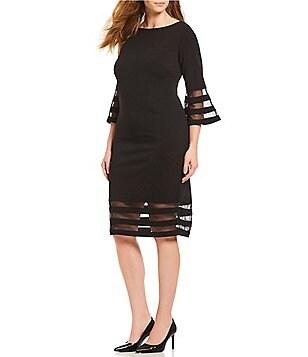 Calvin Klein Plus Size Illusion Sleeve Sheath Dress