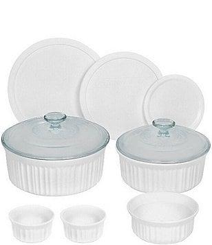 corningware french white 10piece round fluted oventotable bakeware set - Bakeware Sets