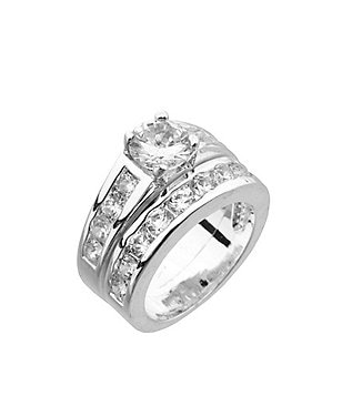 Dillards Boxed Collection Cubic Zirconia Engagement Ring Wedding Band Set