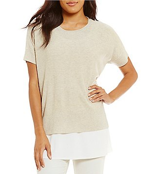 Eileen Fisher Round Neck Short Sleeve Top