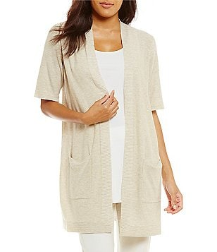 Eileen Fisher Simple Long Elbow Sleeve Cardigan