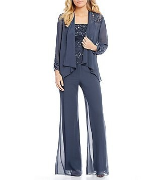 Dressy pant sets and chiffon suits that work for any daytime or evening formal occasion.