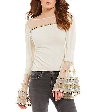 Free People High Tides Bell Sleeve Peasant Top