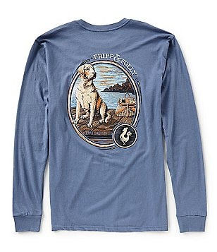 Fripp Folly Mens Dog On Dock Long Sleeve Graphic Pocket Tee