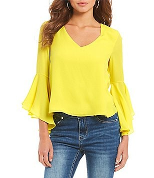 Gianni Bini Capri Fan Fav Bell Sleeve Blouse