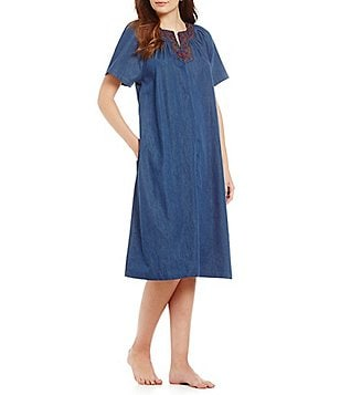 Perfect Go Soflty Scroll Embroidered Denim Zip Patio Dress