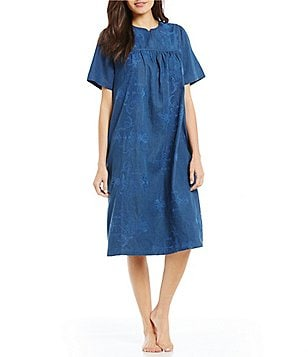 Exceptional Go Softly Floral Embroidered Denim Patio Dress