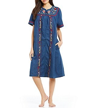Go Softly Floral Embroidered Denim Zip Patio Dress