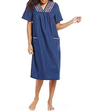 Go Softly Geometric Embroidered Denim Patio Dress