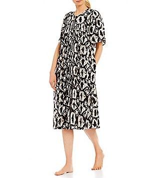 Elegant Go Softly Tasseled Tie Dye Crinkled Patio Dress