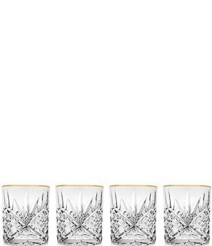 godinger dublin 4piece goldrimmed handcrafted crystal double old fashioned glass set