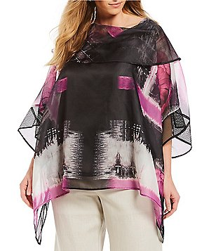 IC Collection Plus Size Flower Print Mesh Poncho