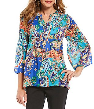 Investments Petites Pleated Button-Front Printed Blouse