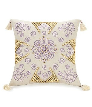 Jessica Simpson Jacky Embroidered Beaded Tel Linen Pillow