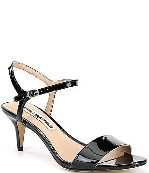 KARL LAGERFELD PARIS Demas Patent Leather Kitten Heel Sandals