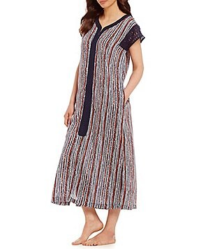 Kate Landry Casuals Lace Sleeve Tribal Challis Patio Dress