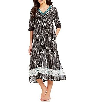 Good Kate Landry Casuals Lace Trimmed Challis Patio Dress